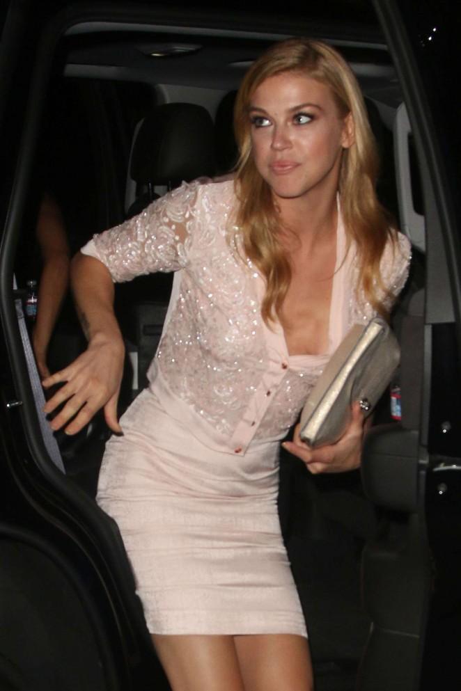 Adrianne Palicki in Short Skirt at Chateau Marmont