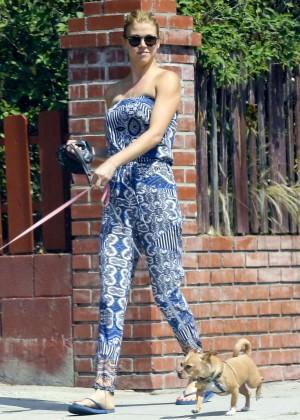 Adrianne Palicki - Walking her dog in LA