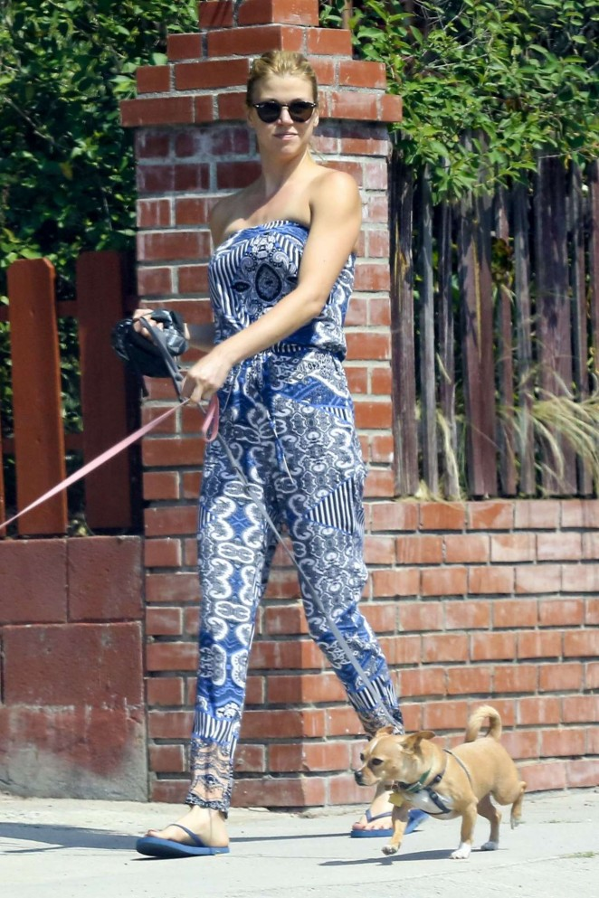 Adrianne Palicki - Walking her dog in LA