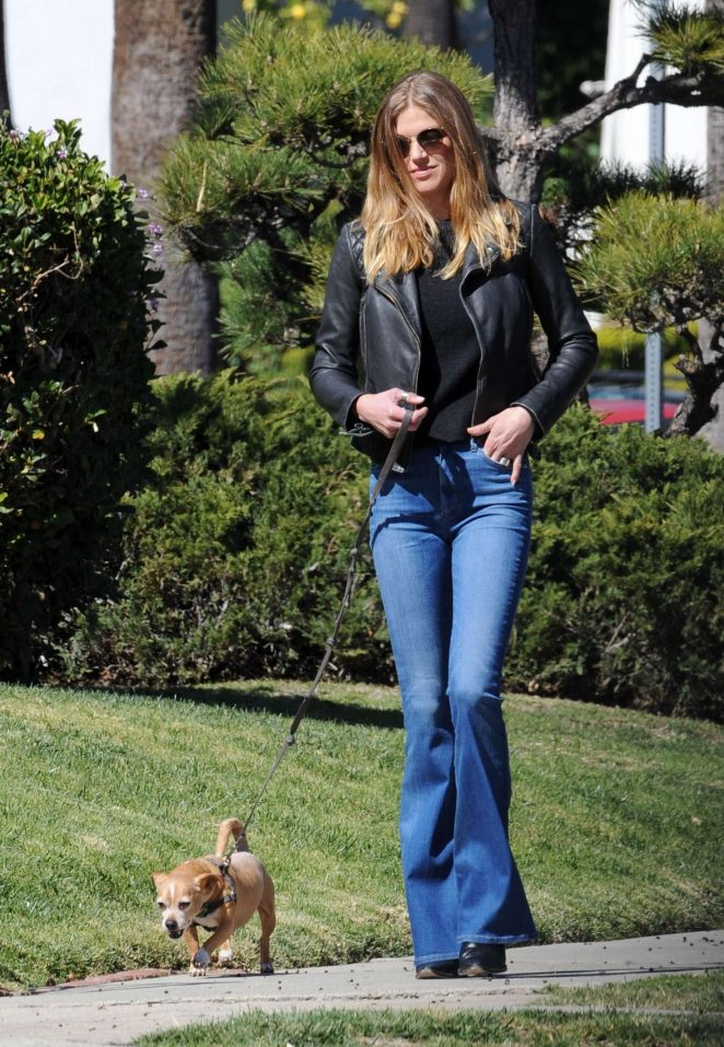 Adrianne Palicki - Walks her dog Olly in LA