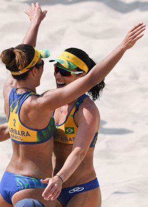 Agatha Bednarczuk and Barbara Seixas of Brazil at Women's Beach Volleyball Match 2016 in Rio de Janeiro