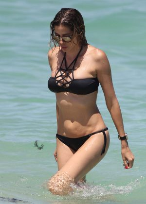 Aida Yespica in Black Bikini at the beach in Miami