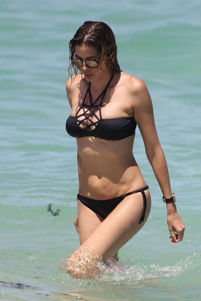 Aida Yespica in Black Bikini 2016 -35