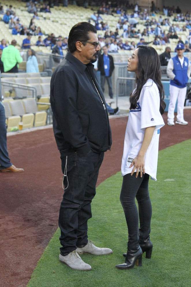 Aimee Garcia at Dodger Stadium in Los Angeles