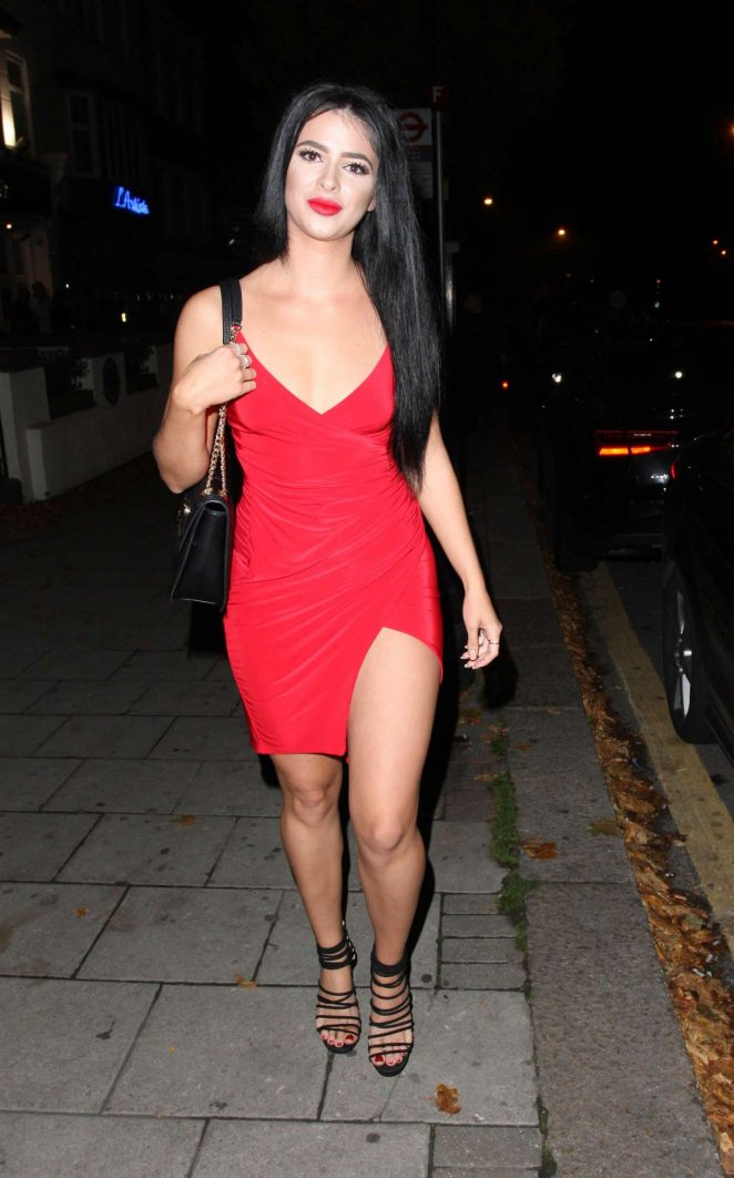Aimee Kimber in Red Dress out in Chingford