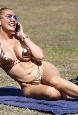 Aisleyne Horgan-Wallace in a bikini in London park