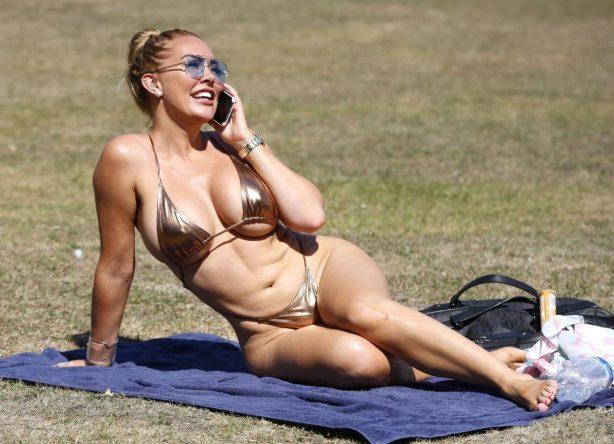 Aisleyne Horgan-Wallace in a bikini in London park