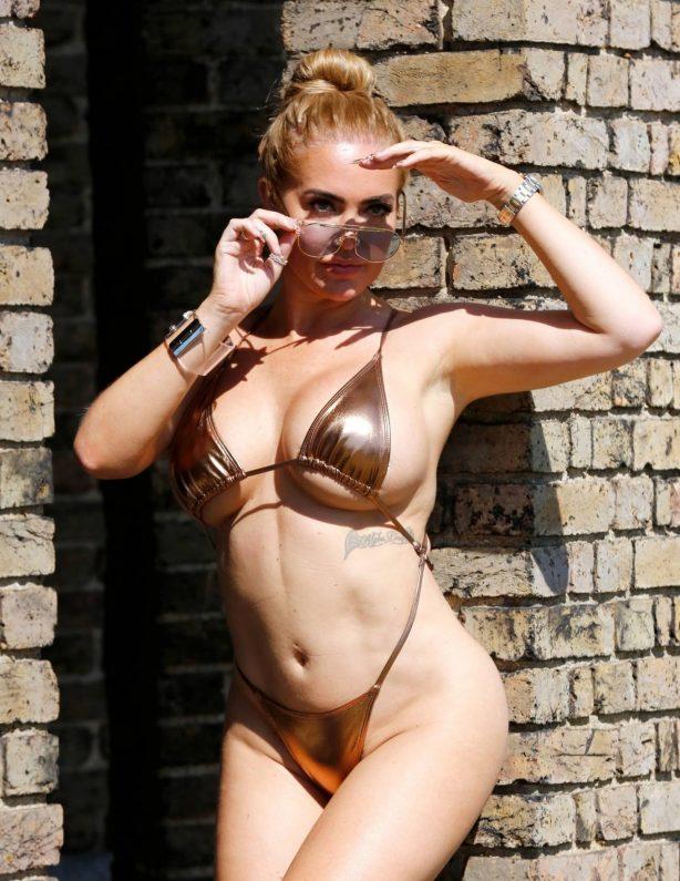 Aisleyne Horgan-Wallace - In gold bikini photoshoot in London