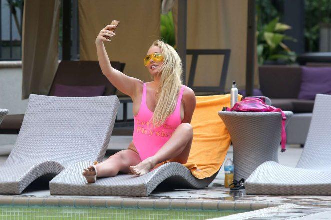 Aisleyne Horgan Wallace in Pink Swimsuit in Los Angeles