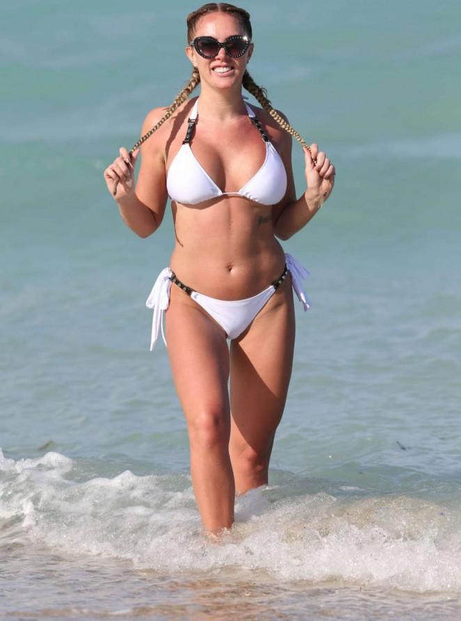 Aisleyne Horgan Wallace in White Bikini in Miami