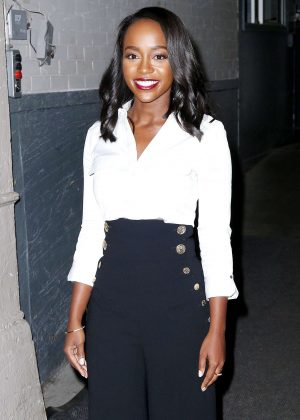 Aja Naomi King - Leaving AOL Building in New York