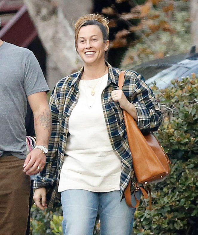 Alanis Morissette at a Mexican restaurant in Los Angeles