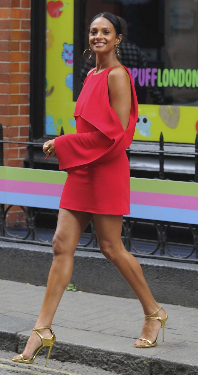 Alesha Dixon in Red Dress out in Soho