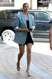 Alesha Dixon - Wearing a black mini dress with an oversized blazer in Los Angeles in California