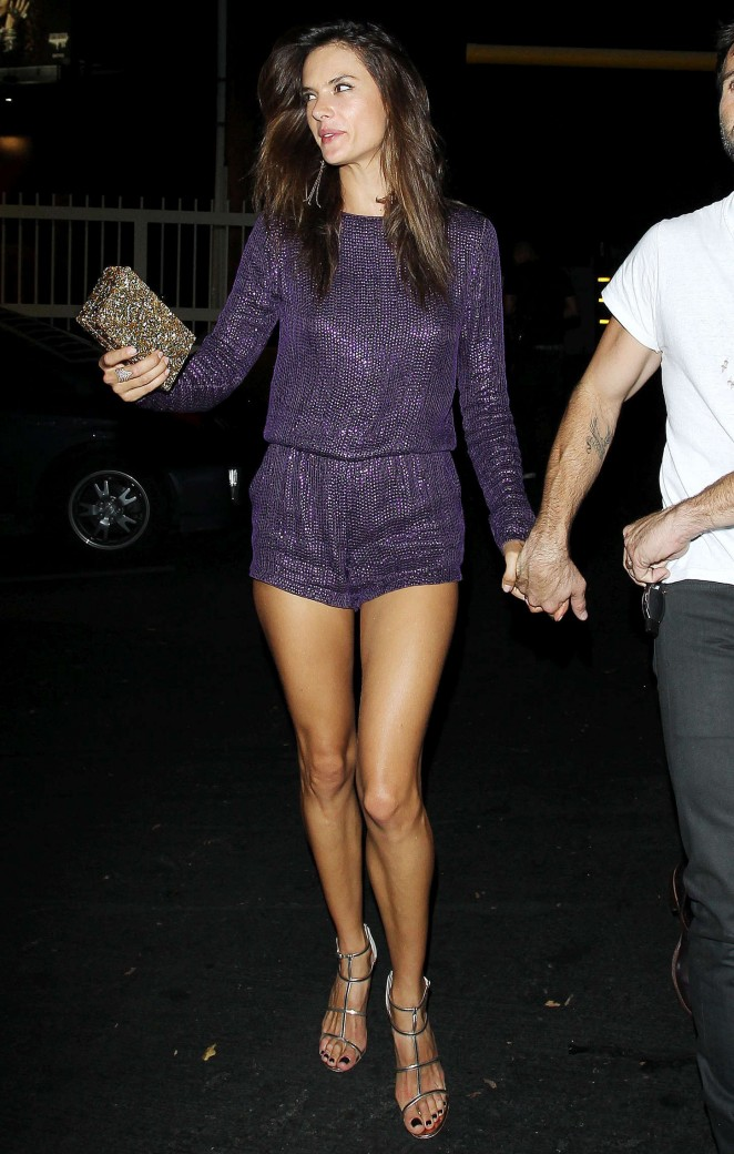 Alessandra Ambrosio Hot in Purple at 1Oak Nightclub