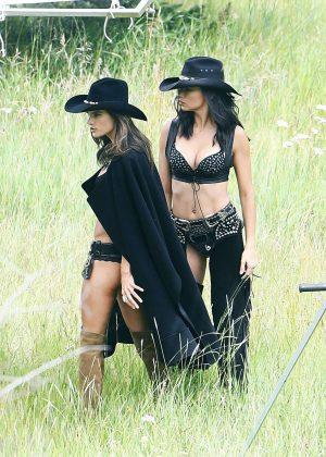 Alessandra Ambrosio and and Adriana Lima Shooting for VS holiday catalog in Aspen