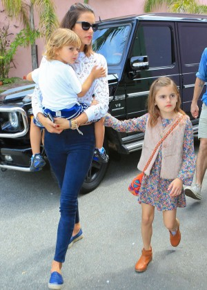 Alessandra Ambrosio and her family out in Santa Monica