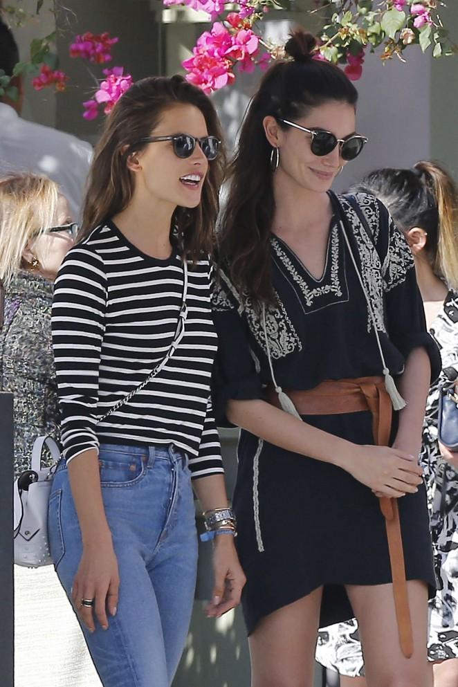 Alessandra Ambrosio and Lily Aldridge at the Ivy Restaurant in Santa Monica