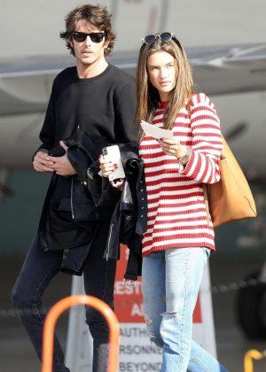 Alessandra Ambrosio and Nicolo Oddi at the airport in Burbank