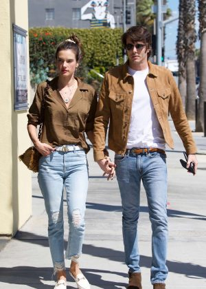 Alessandra Ambrosio and Nicolo Oddi - Heads at Erewhon Natural Foods Market in Santa Monica