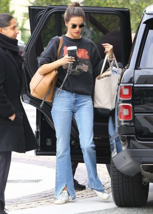 Alessandra Ambrosio - Arriving at a hotel in Beverly Hills