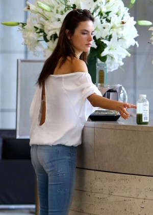 Alessandra Ambrosio in Jeans at a gas station in Century City