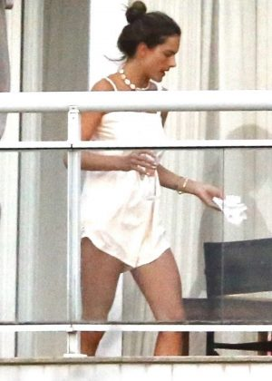 Alessandra Ambrosio at a Hotel Balcony in Florianopolis