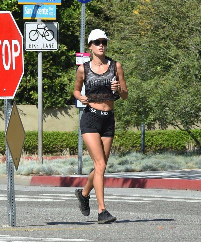 Alessandra Ambrosio at a morning jog in Santa Monica