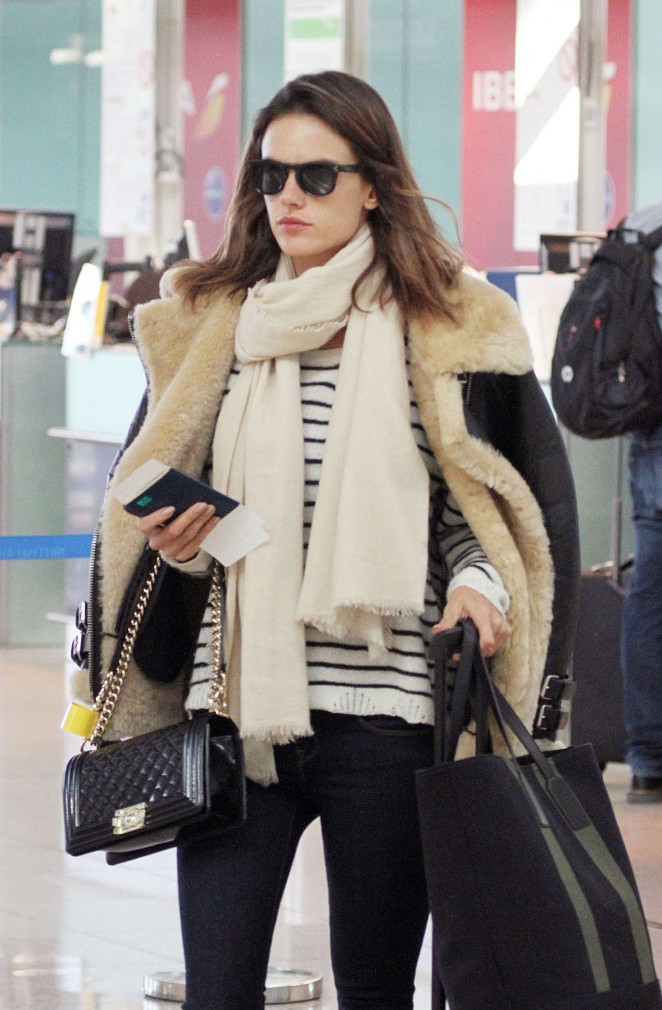 Alessandra Ambrosio at Airport in Barcelona
