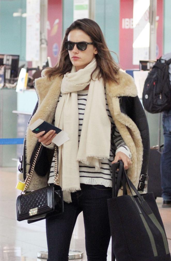 Alessandra Ambrosio at Airport in Barcelona