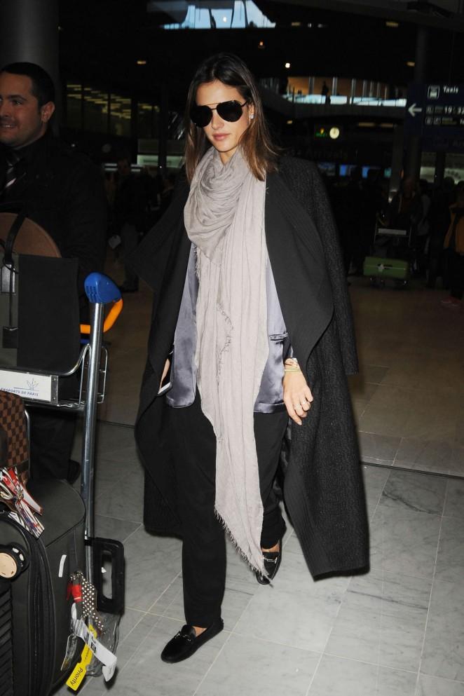 Alessandra Ambrosio at Charles de Gaulle Airport in Paris