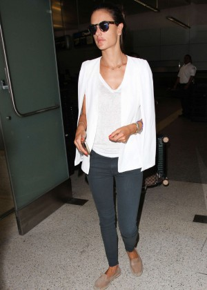 Alessandra Ambrosio in Tight Pans at LAX Airport in LA