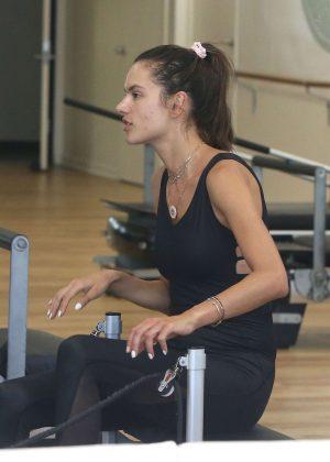 Alessandra Ambrosio at pilates class in Santa Monica
