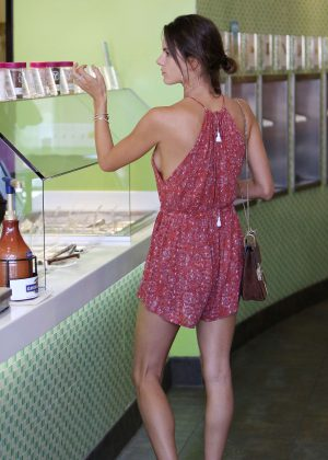 Alessandra Ambrosio in Short Jumpsuit out in Brentwood