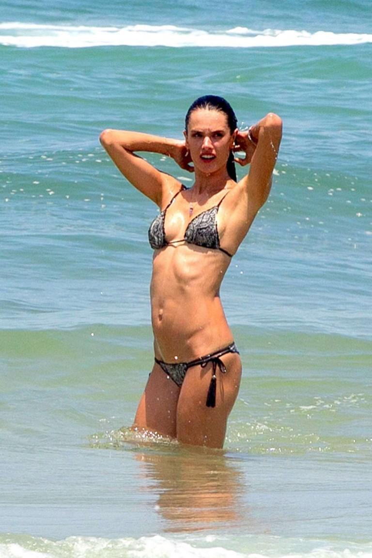 ALESSANDRA AMBROSIO in Bikini on the Beach in Rio De