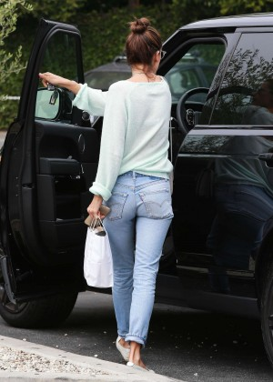 Alessandra Ambrosio in Jeans at Brentwood Country Mart in Brentwood