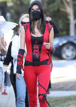 Alessandra Ambrosio - Dresses up as a red ninja for Halloween in Santa Monica