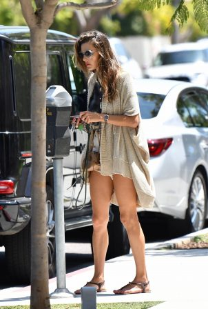 Alessandra Ambrosio - Feeds her parking meter in Pacific Palisades