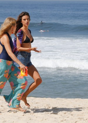 Alessandra Ambrosio in Bikini Top and Shorts -07
