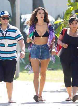 Alessandra Ambrosio in Bikini Top and Shorts -16