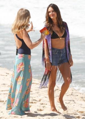 Alessandra Ambrosio in Bikini Top and Shorts -22