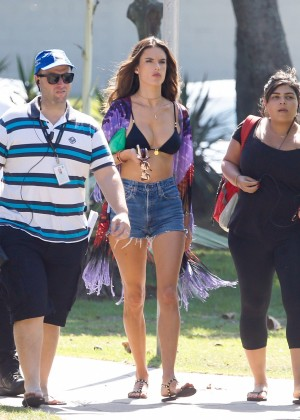 Alessandra Ambrosio in Bikini Top and Shorts -26