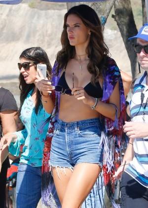 Alessandra Ambrosio in Bikini Top and Shorts -27