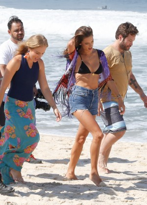 Alessandra Ambrosio in Bikini Top and Shorts -30
