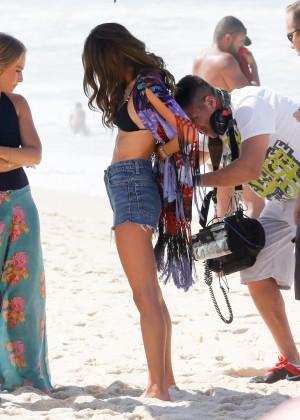Alessandra Ambrosio in Bikini Top and Shorts -31
