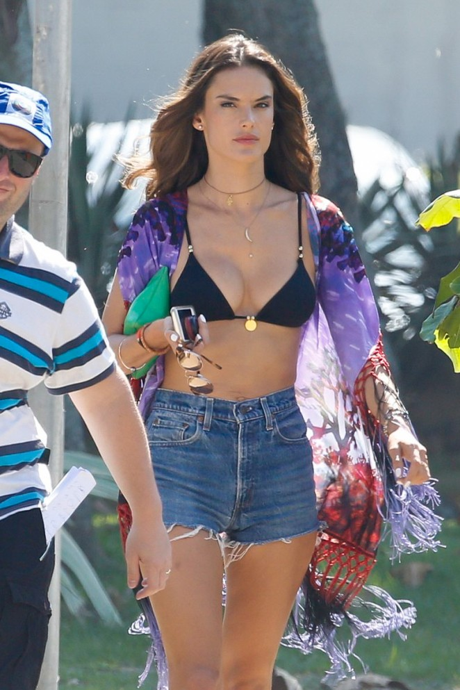 Alessandra Ambrosio in Bikini Top and Shorts Filming for Brazilian TV Globo in Brazil
