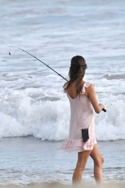 Alessandra Ambrosio - Fishing On the beach in Santa Monica