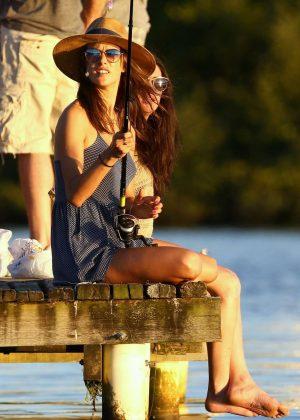 Alessandra Ambrosio goes fishing in Florianopolis