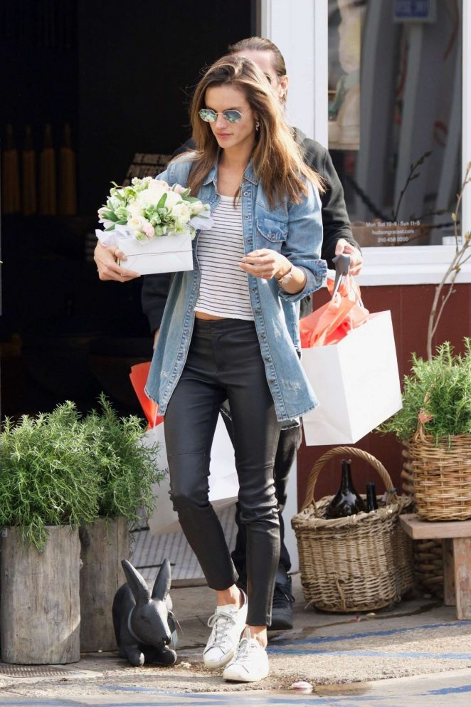 Alessandra Ambrosio grabs some flowers in Los Angeles