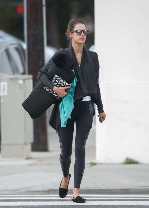 Alessandra Ambrosio heads a yoga class in Los Angeles